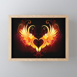 Angel Fire Heart with Wings Framed Mini Art Print