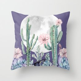 Desert Cactus Full Moon Succulent Garden on Purple Throw Pillow
