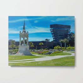 Francis Scott Key monument & de Young Museum, San Francisco Botanical Garden Metal Print