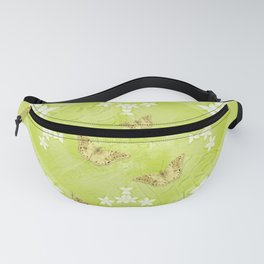 The Queen butterfly and gold butterflies in vibrant green Fanny Pack