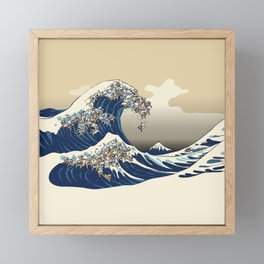 The great wave of english bulldog Vanilla Sky Framed Mini Art Print