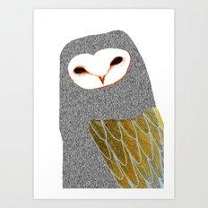 Barn owl, owl art, owl illustration, owls, nature, animal art, Art Print