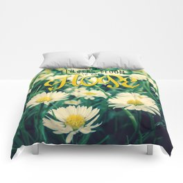Spring Blooming White Daisies and Lady Bird Johnson Quote Comforters