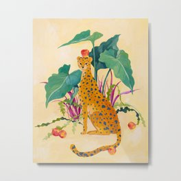 Cheetah and Apples Metal Print