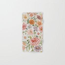 Loose Peachy Dahlia Watercolor Bouquet Hand & Bath Towel