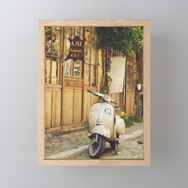 Vintage Vespa in Paris Framed Mini Art Print