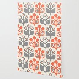 Mid Century Garden Flower Pattern Orange Grey Wallpaper
