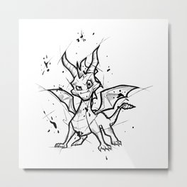 Spyro Handmade Drawing, Made in pencil and ink, Tattoo Sketch, Videogames Art Metal Print