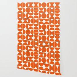 Mid Century Modern Geometric 04 Orange Wallpaper