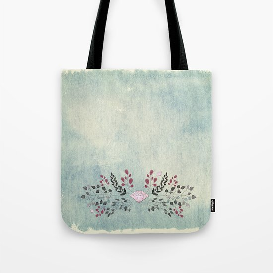 Diamond and flowers - Floral Flowers watercolor illustration Tote Bag