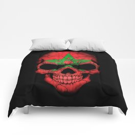 Dark Skull with Flag of Morocco Comforters