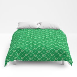 St. Patrick's Day Four Leaf Clover Uniformed Mosaic Pattern Comforters
