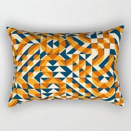 Orange Navy Color Overlay Irregular Geometric Blocks Square Quilt Pattern Rectangular Pillow