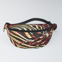 1206s-AK Abstract Striped Nude Rendered in Red Yellow and Gold Fanny Pack
