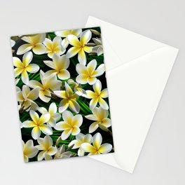 Plumeria on Palm Leaves Dark Stationery Cards