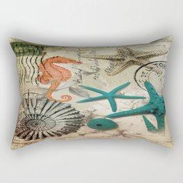 french botanical art seahorse teal green starfish Rectangular Pillow