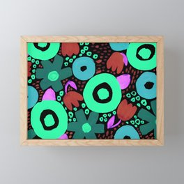 Bold Abstract Floral Inspired Pattern (Red, Teal, Green, Blue, Fuchsia) Framed Mini Art Print