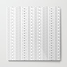 White and gray boho pattern Metal Print