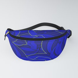 Abstract Blue Background and Green Line Fanny Pack