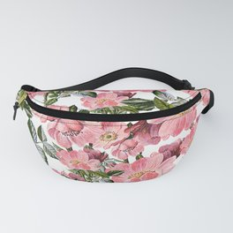 Vintage forest green pink coral bohemian floral Fanny Pack
