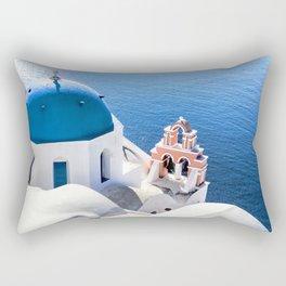 Blue and white church in Oia village, Santorini, Greece Rectangular Pillow