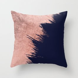 Navy blue abstract faux rose gold brushstrokes Throw Pillow