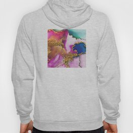 Yummy Glitter Gold and Pink Abstract Paint Textures Hoody