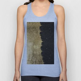 Faux Gold & Black Starry Night Brushstrokes Unisex Tank Top