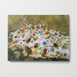 Rainbow Bubbles  Sea Foam by Reay of Light Metal Print