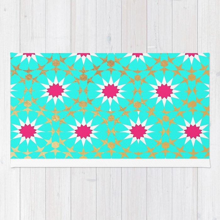 Teal Moroccan Patterns Rug