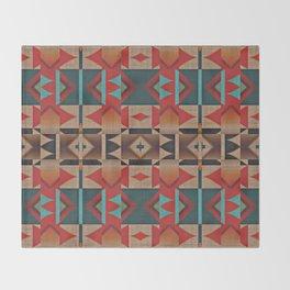 Native American Indian Tribal Mosaic Rustic Cabin Pattern Throw Blanket