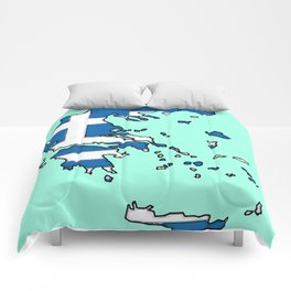 Greece Map with Greek Flag Comforters