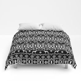 Greyhound fair isle christmas holidays pattern black and white dog gifts Comforters