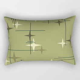 Mid Century Modern Stars Olive Green Rectangular Pillow