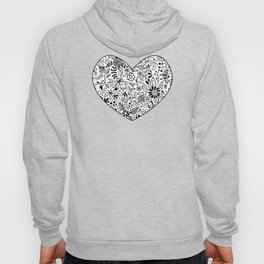 Black on White Florals Hoody