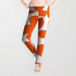 Orange Retro Flowers White Background #decor #society6 #buyart Leggings