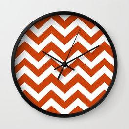 Sinopia - orange color - Zigzag Chevron Pattern Wall Clock