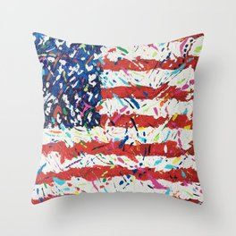 Born on the 4th of July, US Confetti Flag Throw Pillow