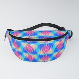 Pattern of blue hearts from the sky stripes on a yellow background in a bright intersection. Fanny Pack