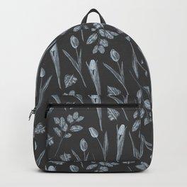 Modern botanical black gray watercolor floral Backpack