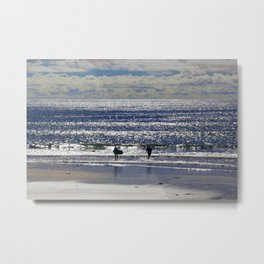 Blue Wave Surfer Girls Metal Print