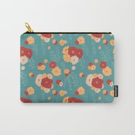 Anemone Floral Bouquets on Blue Carry-All Pouch