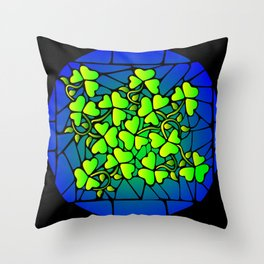 Stained Glass Shamrocks Throw Pillow