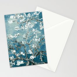 Vincent Van Gogh Almond Blossoms Teal Stationery Cards
