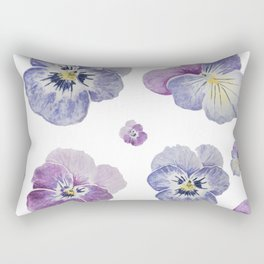 Watercolor Pansy Pattern Rectangular Pillow