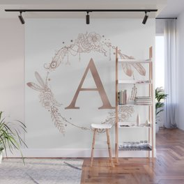 Letter A Rose Gold Pink Initial Monogram Wall Mural