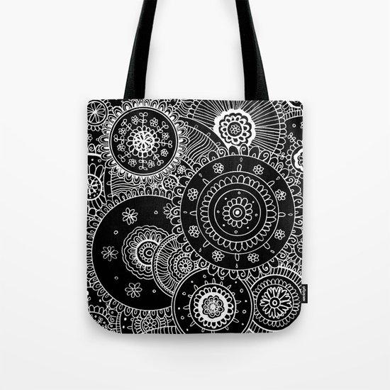 Lacy White Mandalas on Black Tote Bag