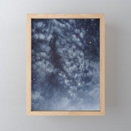 Blue veiled moon II Framed Mini Art Print