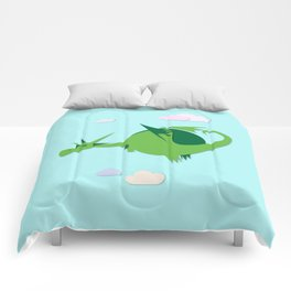 Green fat dragon Comforters