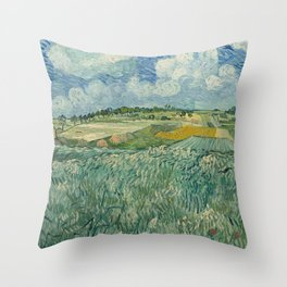 Plain at Auvers with rain clouds Throw Pillow